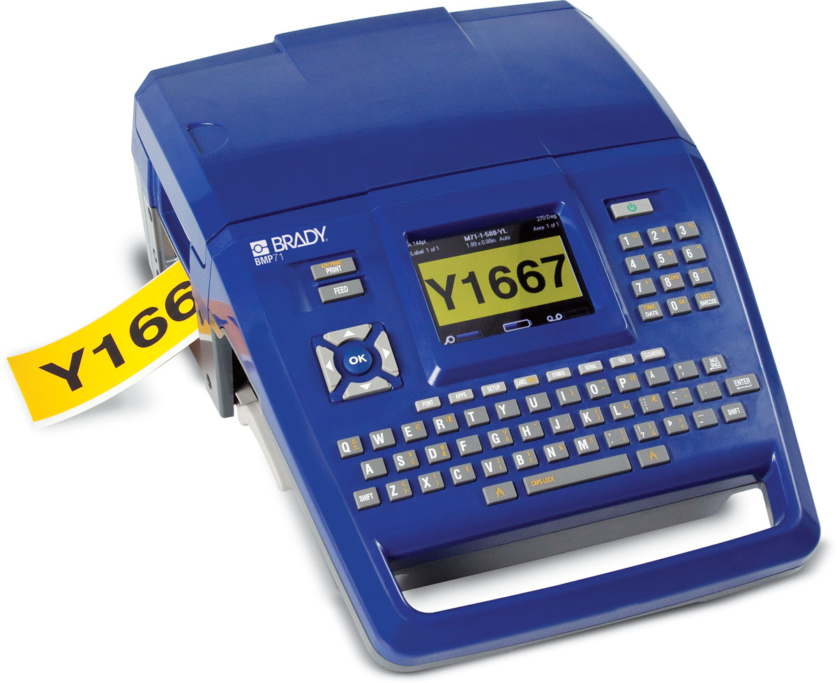 Portable label printer that prints durable labels for factory, office, and facility signage marking.