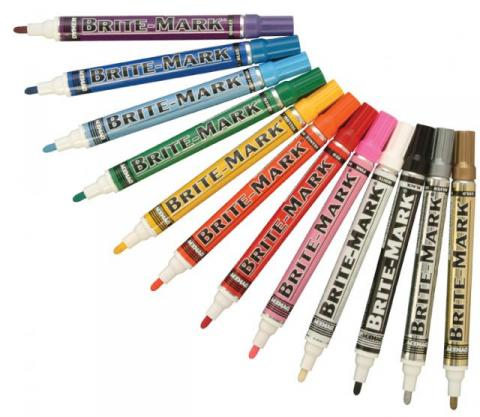Brite-mark industrial felt tipped paint markers from Menke Marking in Los Angeles, California.